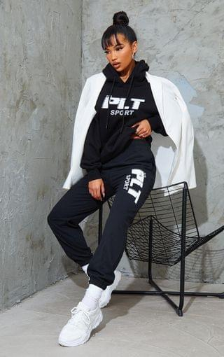 WOMEN Black Sport Oversized Joggers