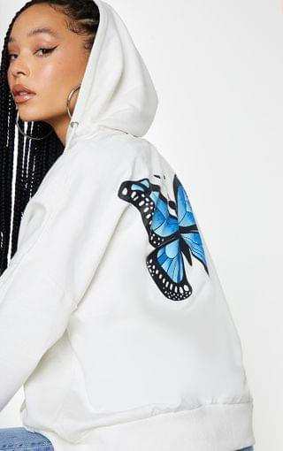 WOMEN White Butterfly Oversized Hooded Jacket
