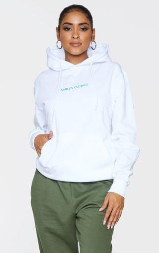 WOMEN White Smiley Club Embroidered Hoodie