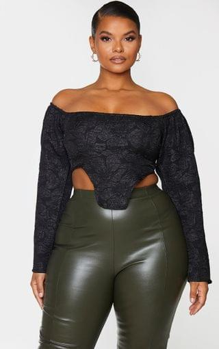 WOMEN Plus Black Textured Floral Bardot Crop Top