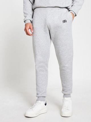 MEN Grey RR quilted loungewear joggers
