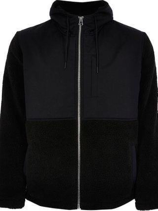 MEN Black nylon borg long sleeve hooded coat