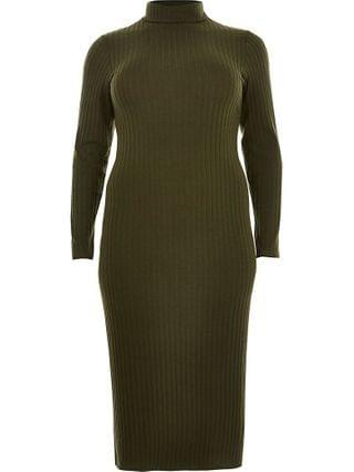 WOMEN Plus khaki turtle neck maxi dress