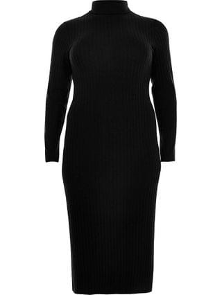 WOMEN Plus black turtle neck maxi dress