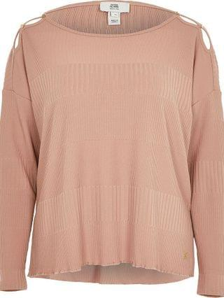 WOMEN Petite pink keyhole detail long sleeve top