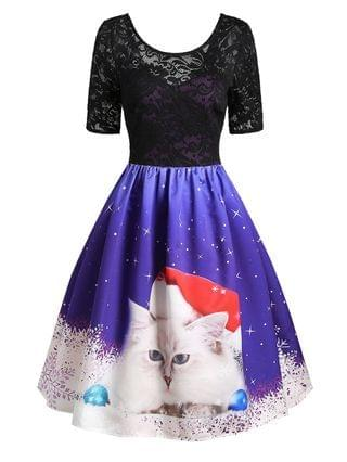 WOMEN Christmas Snowflake Cat Lace Insert V Back Dress