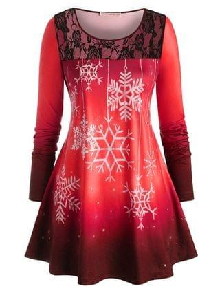 WOMEN Plus Size Christmas Snowflake Lace Panel Long Sleeve Tee