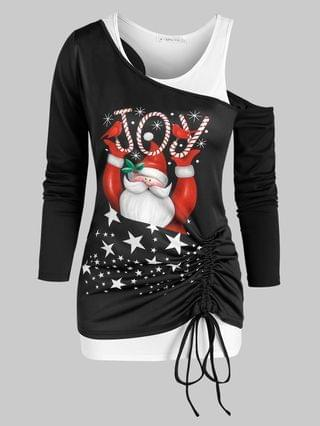 WOMEN Christmas Santa Claus Print Cinched T Shirt and Racerback Tank Top