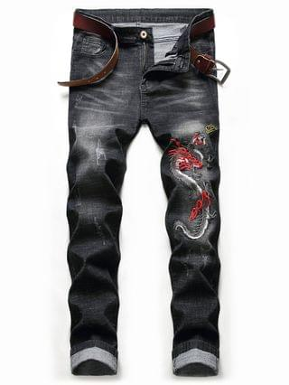 MEN Embroidery Dragon Scratch Jeans