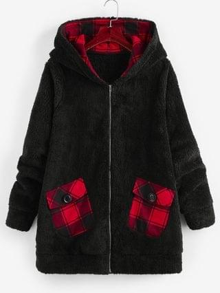 WOMEN Plus Size Plaid Hooded Pocket Fluffy Coat