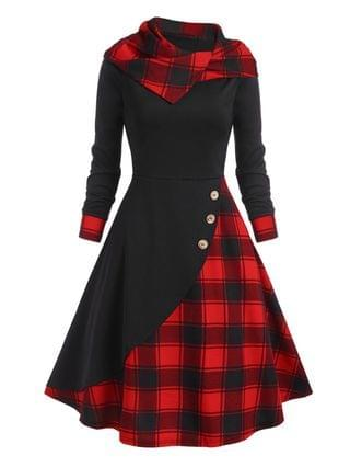 WOMEN Hooded Plaid Mock Button Overlap Midi Dress