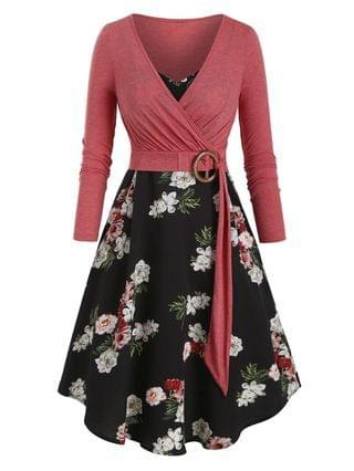 WOMEN Floral Print Belted Two Piece Dress