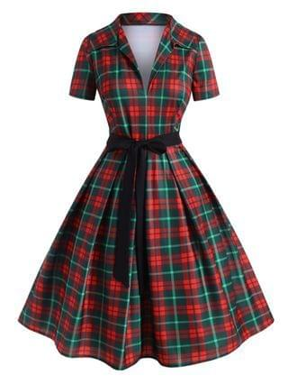 WOMEN Plus Size Plunge Plaid Fit and Flare Dress