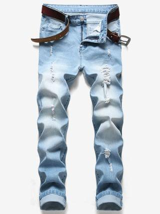 MEN Long Ripped Distressed Jeans