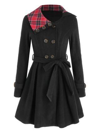 WOMEN Plaid Crossover Double Breasted Skirted Coat