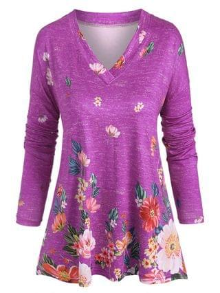 WOMEN Plus Size V Neck Floral Print T Shirt