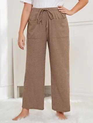WOMEN Plus Pocket Front Wide Leg Sleep Pants