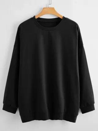 WOMEN Plus Solid Drop Shoulder Sweatshirt