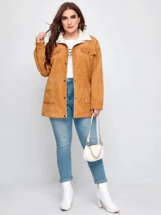 WOMEN Plus Teddy Lined Corduroy Coat
