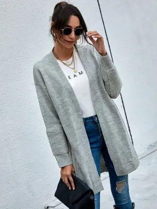 WOMEN Solid Fuzzy Panel Drop Shoulder Cardigan