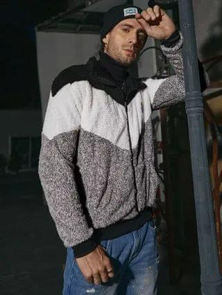 MEN Color Block Patched Teddy Jacket Without Sweater