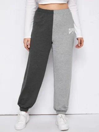 WOMEN Plus Two Tone Letter Graphic Sports Pants
