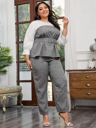 WOMEN Plus Contrast Yoke Buckle Belted Striped Top and Pants Set