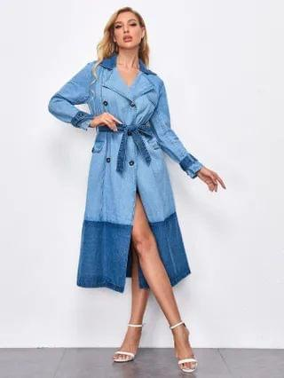 WOMEN Double Breasted Slit Back Belted Denim Dress