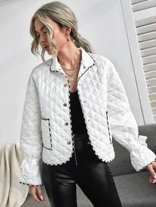 WOMEN Contrast Binding Knot Cuff Quilted Jacket