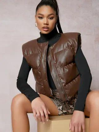 WOMEN Shoulder Pad PU Vest Jacket