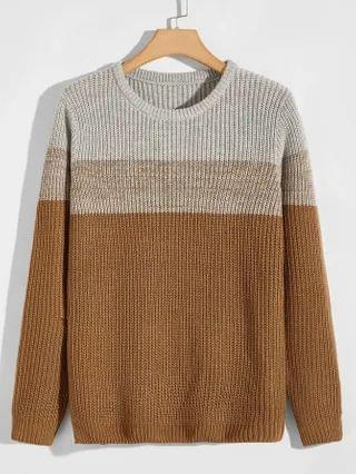 MEN Colorblock Ribbed Knit Sweater
