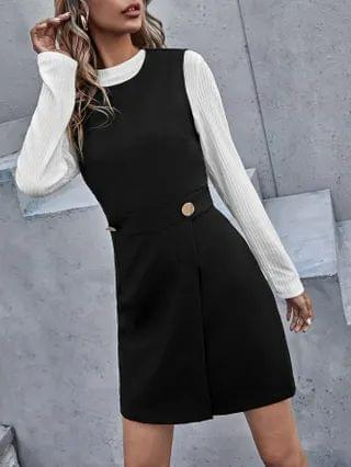 WOMEN Solid Wrap Hem Sleeveless Dress