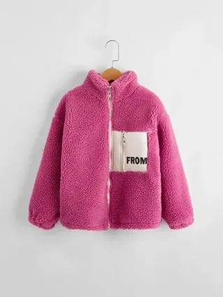 KIDS Letter Graphic Colorblock Teddy Jacket