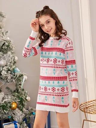 KIDS Christmas Snowman and Snowflake Pattern Sweater Dress