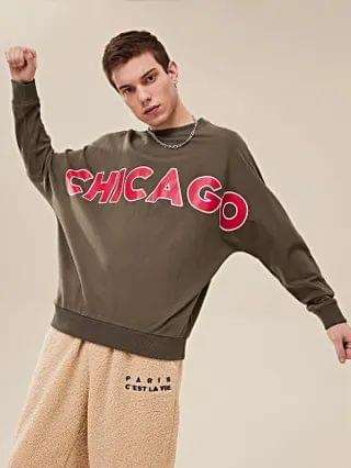 MEN Letter Graphic Batwing Sleeve Pullover
