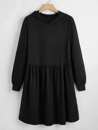 WOMEN Plus Solid Raglan Sleeve Ruffle Hem Hoodie Dress
