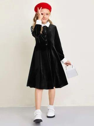 KIDS Contrast Collar Button Detail Velvet Dress