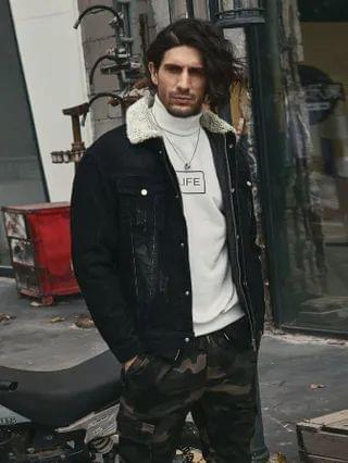 MEN Removable Lined Jacket With Borg Collar