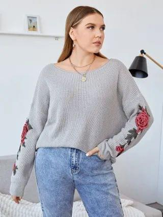 WOMEN Plus Appliques Boat Neck Sweater