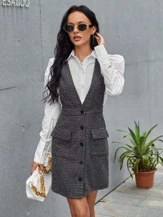 WOMEN Button Front Flap Pocket Houndstooth Pinafore Dress