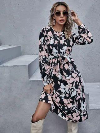WOMEN Allover Floral Print Belted Dress