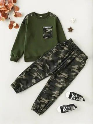 KIDS Camo Panel Letter Patched Sweatshirt With Pants
