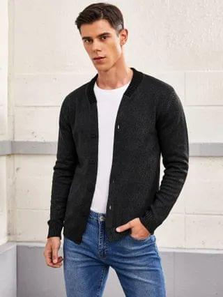 MEN Ribbed Knit Trim Button Front Cardigan