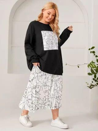 WOMEN Plus Figure Graphic Drop Shoulder Pullover and Pleated Skirt Set