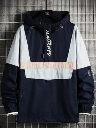 MEN Cut And Sew Slogan Graphic Hooded Jacket