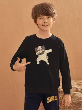 KIDS Drop Shoulder Cartoon Graphic Pullover