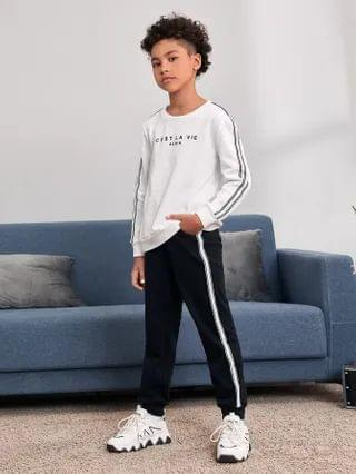 KIDS Slogan Graphic Tape Detail Pullover & Joggers Set