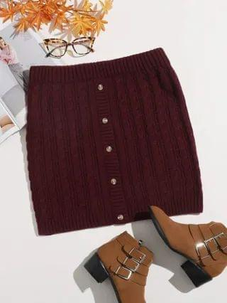 WOMEN Plus Button Fly Cable Knit Skirt