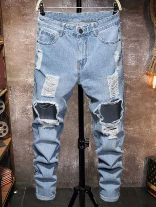 MEN Distressed Ripped Skinny Jeans