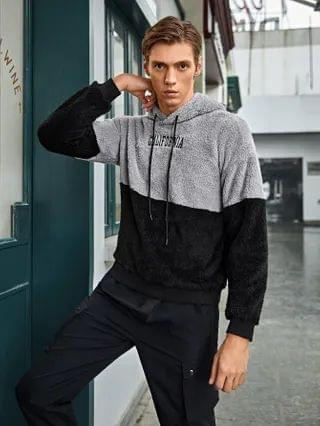 MEN Letter Embroidered Colorblock Teddy Hoodie